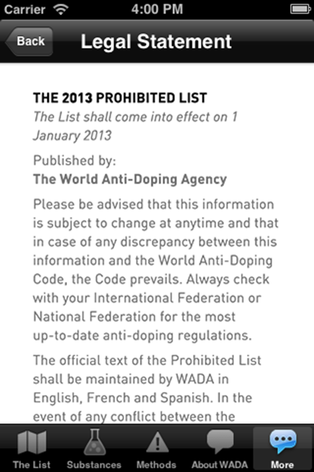 WADA Prohibited List 2013 Screenshot 3